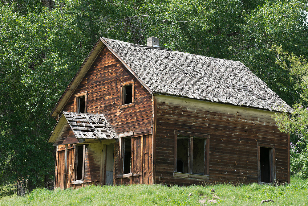 Abandoned farmhouse in Northeast Oregon's Chesnimus Canyon.