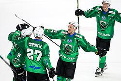 Players of HK SZ Olimpija celebrate after scoring a goal during ice hockey match between HK SZ Olimpija Ljubljana and EC GRAND Immo VSV in bet-at-home ICE Hockey League, on October 22, 2021 in Hala Tivoli, Ljubljana, Slovenia. Photo by Morgen Kristan / Sportida
