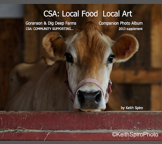 50 page softcover book. CSA Community Supported Agriculture and Community Supported Art came together in Maine at Goranson Farm. Keith Spiro photo-study in conjunction with a statewide project headed up by the Harlow Gallery in 2013.