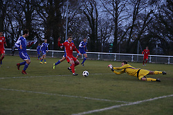 BANGOR, WALES - Tuesday, November 20, 2018: San Marino's goalkeeper Mirko De Angelis saves from Wales' Daniel Griffiths during the UEFA Under-19 Championship 2019 Qualifying Group 4 match between Wales and San Marino at the Nantporth Stadium. (Pic by Paul Greenwood/Propaganda)
