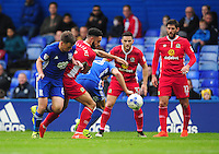 Blackburn Rovers' Derrick Williams vies for possession with Birmingham City's Stephen Gleeson and Michael Morrison<br /> <br /> Photographer Kevin Barnes/CameraSport<br /> <br /> The EFL Sky Bet Championship - Birmingham City v Blackburn Rovers - Saturday 1st October 2016 - St Andrew's - Birmingham<br /> <br /> World Copyright © 2016 CameraSport. All rights reserved. 43 Linden Ave. Countesthorpe. Leicester. England. LE8 5PG - Tel: +44 (0) 116 277 4147 - admin@camerasport.com - www.camerasport.com