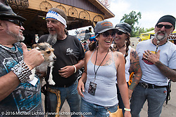 Krazy J Kieffer, Jackson, Ed Rieken, Hilary Goloda, Debi Holmes and Reed Holmes at the newly built Broken Spoke at the Iron Horse Saloon during the Sturgis Black Hills Motorcycle Rally. SD, USA. August 10, 2016.  Photography ©2016 Michael Lichter.