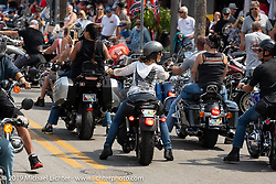 Because the city of Daytona will not close Main Street to 4-wheeled traffic except on a couple of occasions during the rally (unlike Sturgis and Laconia that close all week), there tends to be terrible congestion and many bikers choose not to ever go to Main Street anymore. Daytona Beach Bike Week, FL. USA. Friday, March 15, 2019. Photography ©2019 Michael Lichter.