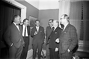 """4/03/1966<br /> 03/24/1966<br /> 24 March 1966<br /> Reception at the Shelbourne Hotel for speakers at the Symposium on """"Shock"""" sponsored by Pharmacia International held at UCD. Image shows (l-r): Dr. L.G. O'Connell, M.B., M.Sc.; Mr P. Brady, M.Ch., F.R.C.S.I.; Dr U.F. Gruber, M.D. (Switzerland); Dr H. Hint, M.D., (Sweden); Prof. P. FitzGerald M.D., M.Ch., M.Sc F.R.C.S.I. and Profeeor E. O'Malley, M.Ch., F.R.C.S.I. who presented papers at the event."""
