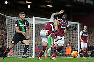 Mauro Zarate of West Ham United clears the ball out of his own box. Barclays Premier league match, West Ham Utd v Stoke city at the Boleyn Ground, Upton Park  in London on Saturday 12th December 2015.<br /> pic by John Patrick Fletcher, Andrew Orchard sports photography.