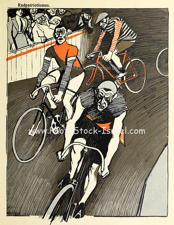 Bicycle race competition From the Book Das Narrenrad : Album fröhlicher Radfahrbilder [The fool's wheel: album of happy cycling pictures] by Feininger, Lyonel, 1871-1956, illustrator; Heilemann, Ernst, 1870- illustrator; Hansen, Knut, illustrator; Fürst, Edmund, 1874-1955, illustrator; Edel, Edmund, illustrator; Schnebel, Carl, illustrator; Verlag Otto Elsner, printer. Published in Germany in 1898