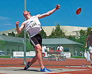Decathlon points winner Arthur Abele of Germany, heaves the discus, at the Nike Combined Events Challenge at the R.V. Christian Track Complex on the campus of Kansas State University in Manhattan, Kansas, August 6, 2006.