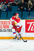 KAMLOOPS, CANADA - NOVEMBER 5: Daniil Zhuravlev #2 of Team Russia skates with the puck against the Team WHL  on November 5, 2018 at Sandman Centre in Kamloops, British Columbia, Canada.  (Photo by Marissa Baecker/Shoot the Breeze)