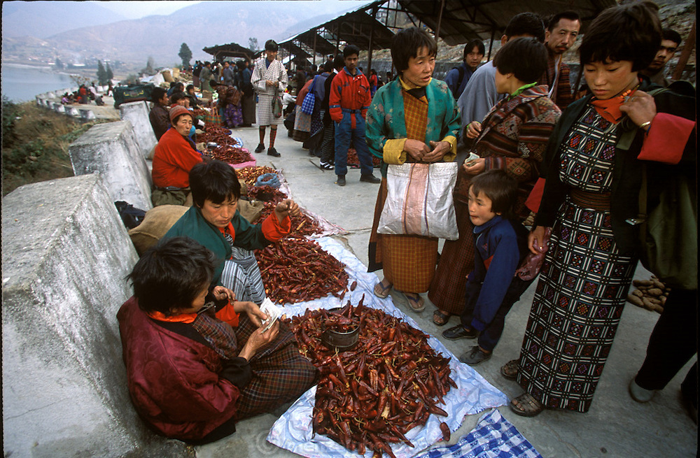 Nalim (in green jacket) talks to her daughter Bangum about prices before buying dried chili peppers from the vendors who line the wall at the Sunday market in Wangdi Phodrang, Bhutan. The large town is a two-hour walk from Shingkhey village. Nalim and her children and grandchildren walk there and back unless they can hitch a ride on a passing vehicle. (Supporting image from the project Hungry Planet: What the World Eats.) The Namgay family living in the remote mountain village of Shingkhey, Bhutan, is one of the thirty families featured, with a weeks' worth of food, in the book Hungry Planet: What the World Eats.