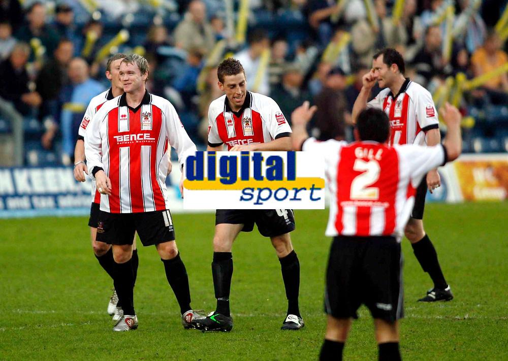 Photo: Marc Atkins.<br /> <br /> Wycombe Wanderers v Cheltenham Town. Coca Cola League 2, Play off Semi Final. 13/05/2006. Grant McCann (C) celebrates after scoring Cheltenham's 1st goal.