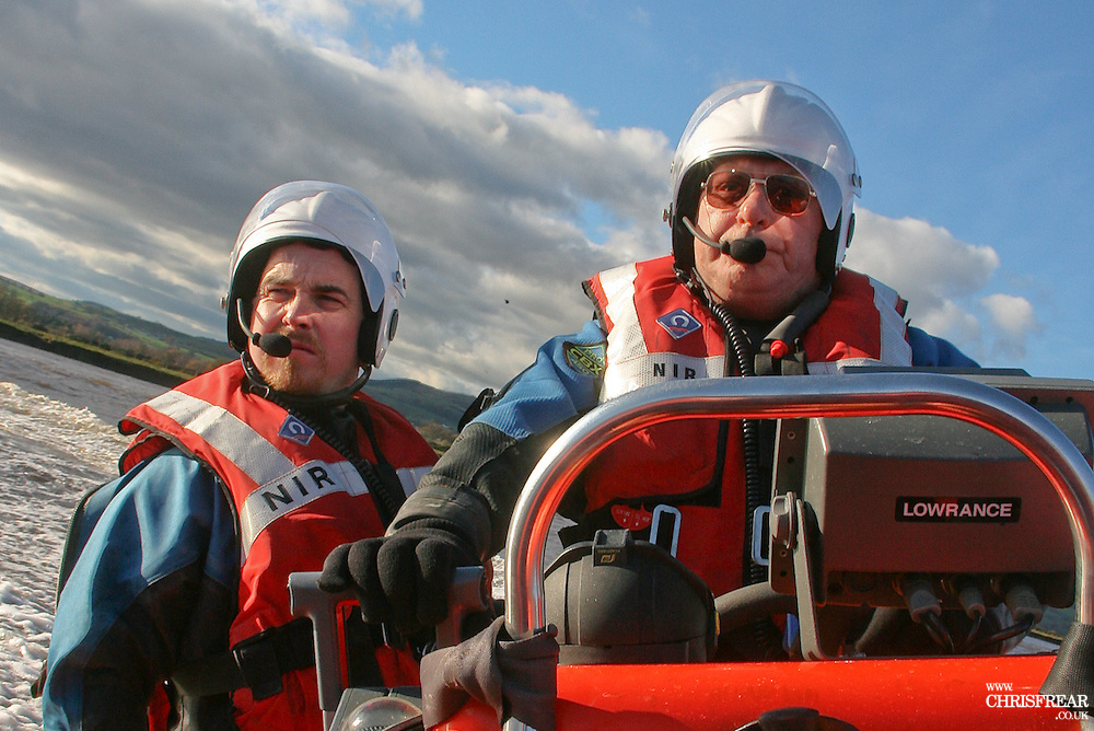 Ian Bevan and coxswain Ian Simpson man the Nith Inshore volunteer lifeboat