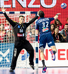 12.05.2017, Zatika Sport Centre, Porec, CRO, EHF EM, Herren, Österreich vs Frankreich, Gruppe B, im Bild v.l. Kristian Pilipovic (AUT), Raphael Caucheteux (FRA) // during the preliminary round, group B match of the EHF men's Handball European Championship between Austria and France at the Zatika Sport Centre in Porec, Croatia on 2017/05/12. EXPA Pictures © 2018, PhotoCredit: EXPA/ Sebastian Pucher