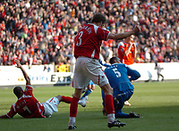 Photo: Tony Oudot.<br />Charlton Athletic v Wigan Athletic. The Barclays Premiership. 31/03/2007.<br />Marcus Bent and Hermann Hreidarsson of Charlton celebrate after being awarded a penalty