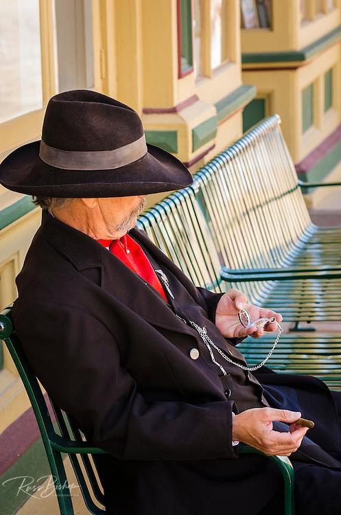 Town Marshall checking his pocket watch, Tombstone, Arizona USA