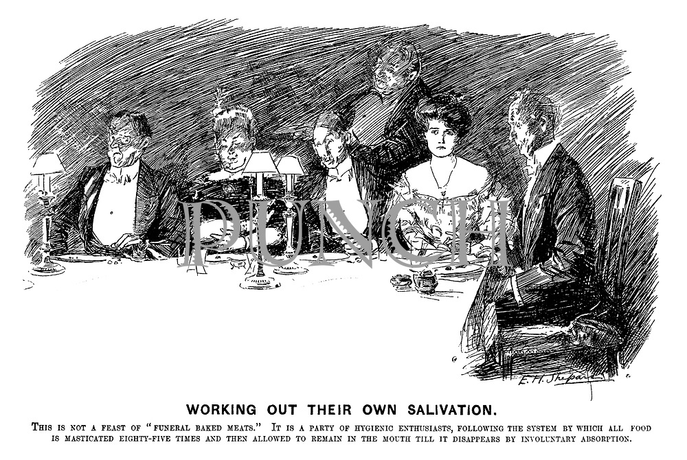 """Working Out Their Own Salivation. This is not a feast of """"funeral baked meats"""" It is a party of hygienic enthusiasts, following the system by which all food is masticated eighty-five times and then allowed to remain in the mouth till it disappears by involuntary absorption."""