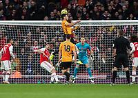 Football - 2019 / 2020 Premier League - Arsenal vs. Wolverhampton Wanderers<br /> <br /> Raul Jimenez (Wolverhampton Wanderers) leaps high to head towards the Arsenal goal at The Emirates Stadium.<br /> <br /> COLORSPORT/DANIEL BEARHAM