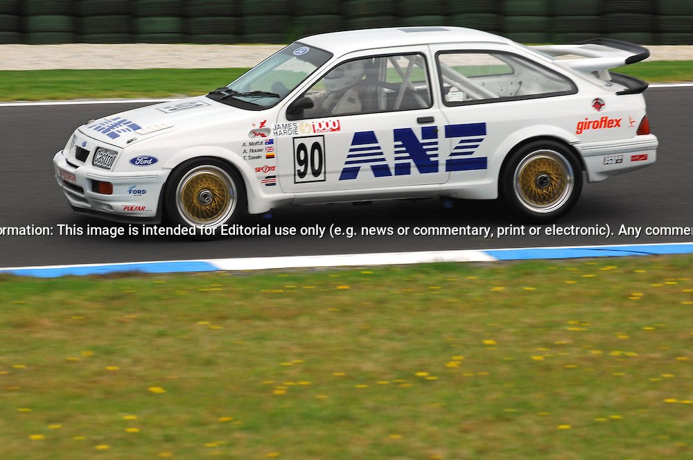 Robert Ingram - Group A - Ford Sierra RS 500.Historic Motorsport Racing - Phillip Island Classic.18th March 2011.Phillip Island Racetrack, Phillip Island, Victoria.(C) Joel Strickland Photographics.Use information: This image is intended for Editorial use only (e.g. news or commentary, print or electronic). Any commercial or promotional use requires additional clearance.
