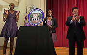 Houston ISD Trustee Jolanda Jones, Felicia Adams and Superintendent Richard Carranza unveil a marker during a renaming ceremony at Bob Lanier Middle School, September 21, 2016.