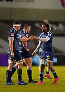 Sale Sharks wing Marland Yarde congratulates Sale Sharks flanker Jono Ross after his try during the Gallagher Premiership match Sale Sharks -V- Worcester Warriors at The AJ Bell Stadium, Greater Manchester,England United Kingdom, Friday, January 08, 2021. (Steve Flynn/Image of Sport)
