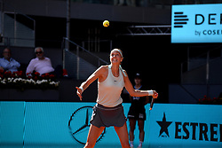 May 6, 2019 - Madrid, Spain - Petra Kvitová (CZE) in her match against Kristina Mladenovic (FRA) during day three of the Mutua Madrid Open at La Caja Magica in Madrid on 6th May, 2019. (Credit Image: © Juan Carlos Lucas/NurPhoto via ZUMA Press)