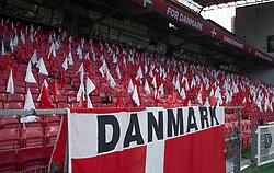 Tribune uden tilskuere før UEFA Nations League kampen mellem Danmark og England den 8. september 2020 i Parken, København (Foto: Claus Birch).