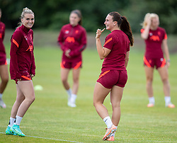 WALLASEY, ENGLAND - Wednesday, July 28, 2021: Liverpool's Melissa Lawley (L) and Leighanne Robe during a training session at The Campus as the team prepare for the start of the new 2021/22 season. (Pic by David Rawcliffe/Propaganda)