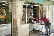 food shop opserving social distancing during Covid 19 crisis France Limoux April 2020