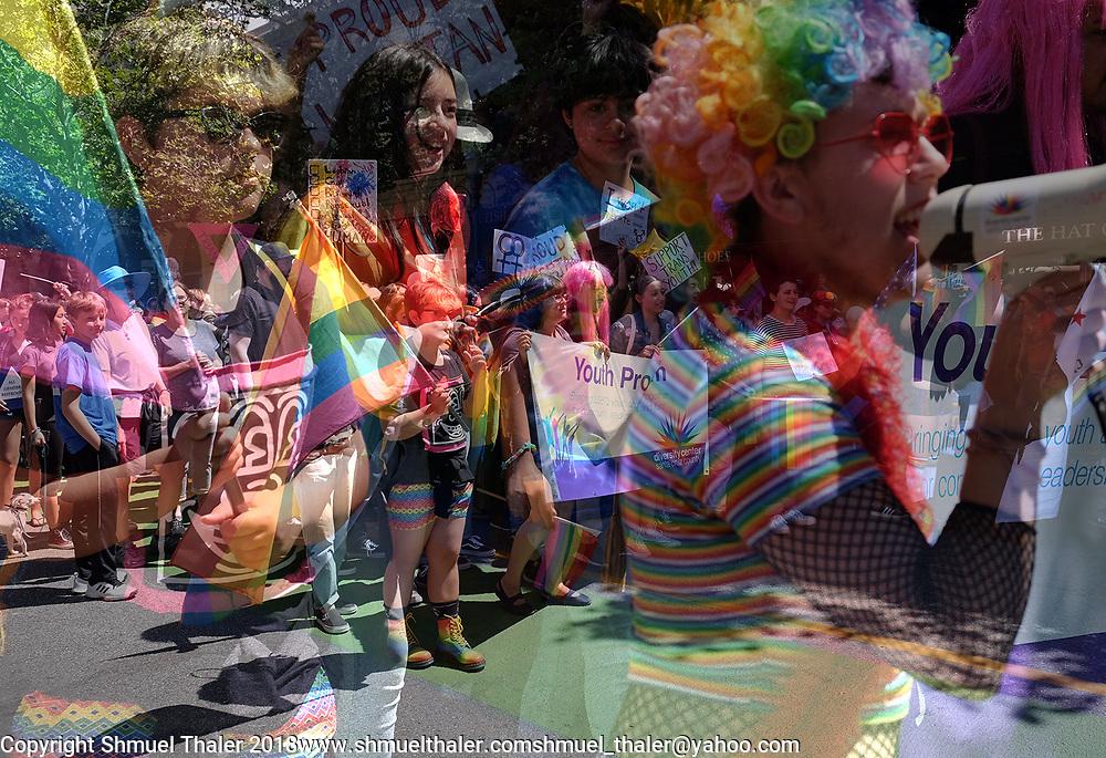 A double exposure of the annual Gay Pride Parade in Santa Cruz, California.<br /> June 3, 2018<br /> Photo by Shmuel Thaler<br /> shmuel_thaler@yahoo.com<br /> www.shmuelthaler.com