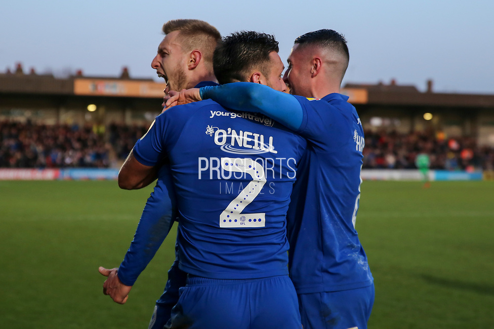 AFC Wimbledon striker Joe Pigott (39) celebrating after scoring goal to make it 1-0 during the EFL Sky Bet League 1 match between AFC Wimbledon and Peterborough United at the Cherry Red Records Stadium, Kingston, England on 18 January 2020.