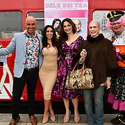 Simon Gross, Lady Colin Campbell, Tonia Buxton and John Dixon attend Celeb Bri Tea, on board the BB Bakery bus on 22 March 2019, London, UK.