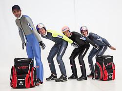 20.10.2012, Messehalle, Innsbruck, AUT, OeSV Einkleidung 2012, im Bild die österreichischen Skispringer Wolfgang Loizl, Thomas Morgenstern, Andreas Koffer und Gregor Schlierenzauer // austrians Ski Jumper Wolfgang Loizl, Thomas Morgenstern, Andreas Koffer und Gregor Schlierenzauer during the official Presentation of the Austrian Ski Team Fashion at the Messehalle, Innsbruck, Austria on 2012/10/20. EXPA Pictures © 2012, PhotoCredit: EXPA/ Johann Groder