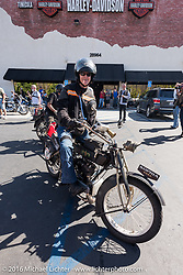 Hans Coertse of South Africa on his 976c twin cylinder 1913 Matchless Model 5B Motorcycle as he arrives at the hosted lunch stop at Temecula Harley-Davidson on the last day of the Motorcycle Cannonball Race of the Century. Stage-15 ride from Palm Desert, CA to Carlsbad, CA. USA. Sunday September 25, 2016. Photography ©2016 Michael Lichter.