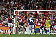 Andreas Bouhalakis of Nottingham Forest (L) scores his team's first goal. EFL Skybet football league championship match, Brentford  v Nottingham Forest at Griffin Park in London on Saturday 12th August 2017.<br /> pic by Steffan Bowen, Andrew Orchard sports photography.