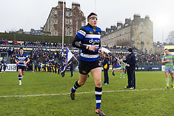 Darren Atkins and the rest of the Bath Rugby team run out onto the field - Mandatory byline: Patrick Khachfe/JMP - 07966 386802 - 27/01/2018 - RUGBY UNION - The Recreation Ground - Bath, England - Bath Rugby v Newcastle Falcons - Anglo-Welsh Cup