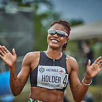 Nikita Holder all smiles after speeding to the final with a time of 13.10 seconds
