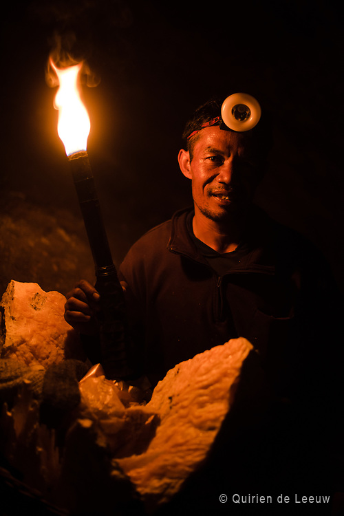 A miner posing at IJen crater