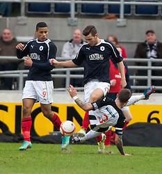 Falkirk's Lyle Taylor, Falkirk's Kieran Duffie and Dunfermline's Jordan McMillan..Falkirk 1 v 0 Dunfermline, 16/2/2013..©Michael Schofield.