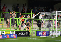 Football - 2020 / 2021 EFL League Two - Forest Green Rovers vs Bradford City<br /> <br /> Fans celebrate as Forest Green Rovers' Aaron Collins scores his side's second goal in injury time to level the score 2-2, at the New Lawn Stadium<br /> <br /> COLORSPORT/ASHLEY WESTERN