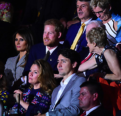 Prince Harry, US first Lady Melania Trump and Canadian Prime Minister pictured at the Invictus games opening ceremony in Toronto canada. 23 Sep 2017 Pictured: Prince harry, Melania Trump and Justin Trudeau. Photo credit: 246paps/MEGA TheMegaAgency.com +1 888 505 6342
