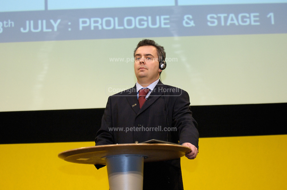 BBC Radio 5 Live cycling commentator, Simon Brotherton at the official launch of London hosting the Prologue and Stage One of the 2007 Tour de France held at the Queen Elizabeth 2 Conference Centre on Thursday 9th February 2006.