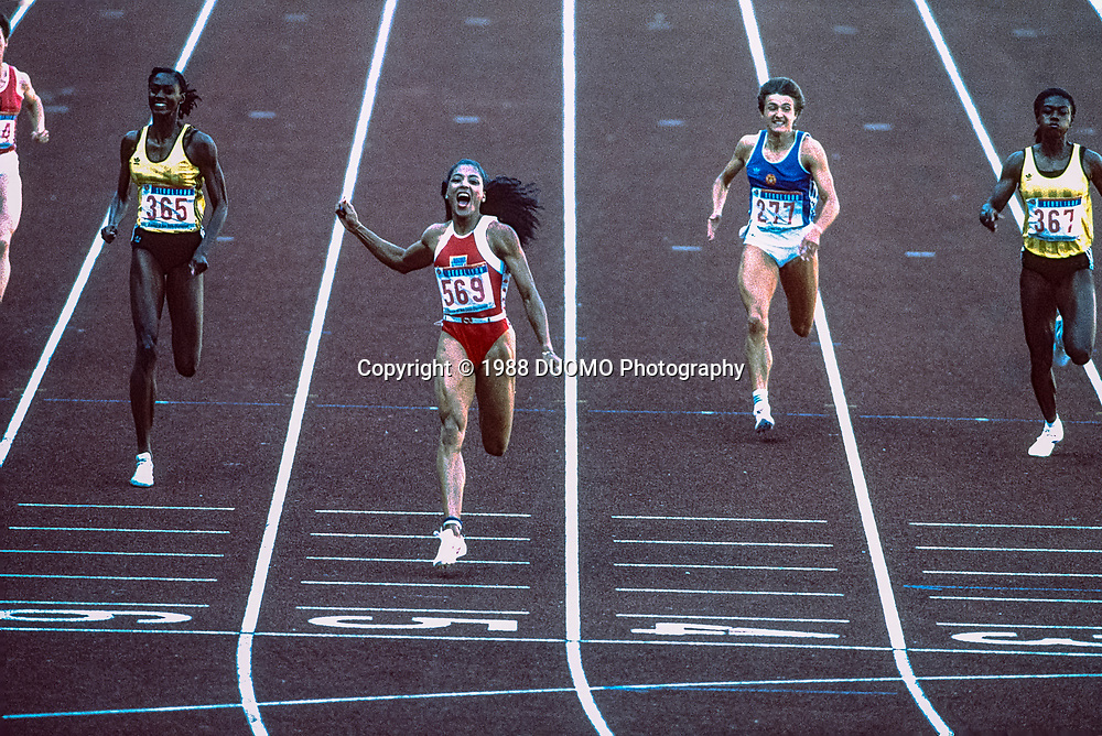 Florence Griffith Joyner competing at the 1988 Olympic Summer Games