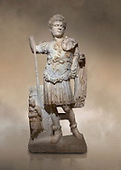 Roman statue of Emperor Caracalla. Marble. Perge. 2nd century AD. Inv no  2014/194. Antalya Archaeology Museum; Turkey. Against a warm art background.<br /> <br /> Caracalla Roman emperor from 198 to 217 AD. He was a member of the Severan Dynasty, the elder son of Septimius Severus and Julia Domna. Co-ruler with his father from 198, he continued to rule with his brother Geta, emperor from 209, after their father's death in 211. He had his brother murdered later that year, and reigned afterwards as sole ruler of the Roman Empire. .<br /> <br /> If you prefer to buy from our ALAMY STOCK LIBRARY page at https://www.alamy.com/portfolio/paul-williams-funkystock/greco-roman-sculptures.html . Type -    Antalya     - into LOWER SEARCH WITHIN GALLERY box - Refine search by adding a subject, place, background colour, museum etc.<br /> <br /> Visit our ROMAN WORLD PHOTO COLLECTIONS for more photos to download or buy as wall art prints https://funkystock.photoshelter.com/gallery-collection/The-Romans-Art-Artefacts-Antiquities-Historic-Sites-Pictures-Images/C0000r2uLJJo9_s0