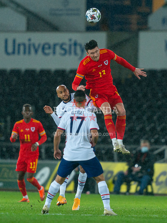 SWANSEA, WALES - Thursday, November 12, 2020: Wales' Kieffer Moore (R) during an International Friendly match between Wales and the USA at the Liberty Stadium. (Pic by David Rawcliffe/Propaganda)
