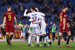 January 6, 2018 - Rome, Italy - Players of Atalanta celebrate the victory at the end of the Serie A match between Roma and Atalanta at Stadio Olimpico, Rome, Italy on 6 January 2018  (Credit Image: © Giuseppe Maffia/NurPhoto via ZUMA Press)