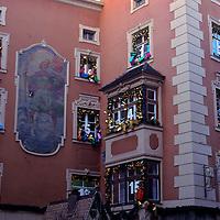 Europe, Austria. Advent Calendar building facade.