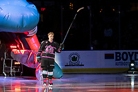 KELOWNA, BC - SEPTEMBER 21:  Michael Farren #16 of the Kelowna Rockets enters the ice for home opener against the Spokane Chiefs at Prospera Place on September 21, 2019 in Kelowna, Canada. (Photo by Marissa Baecker/Shoot the Breeze)