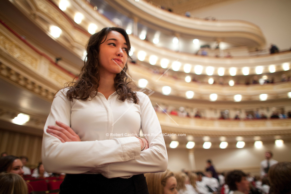 Samantha Staszak of  La Jolla Country Day School performs in a high school honor choir at Carnegie Hall in New York. ..Photo by Robert Caplin...