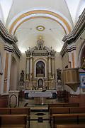 Historic church interior village of Benimaurell, Vall de Laguar, Marina Alta, Alicante province, Spain