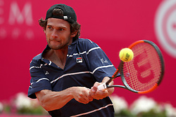 April 30, 2018 - Estoril, Portugal - Pedro Sousa of Portugal returns a ball to Gilles Simon of France during the Millennium Estoril Open ATP 250 tennis tournament - round 1, at the Clube de Tenis do Estoril in Estoril, Portugal on April 30, 2018. (Credit Image: © Pedro Fiuza/NurPhoto via ZUMA Press)