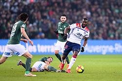January 20, 2019 - Saint Etienne, France - 28 TANGUY NDOMBELE (OL) - 21 Romain HAMOUMA  (Credit Image: © Panoramic via ZUMA Press)